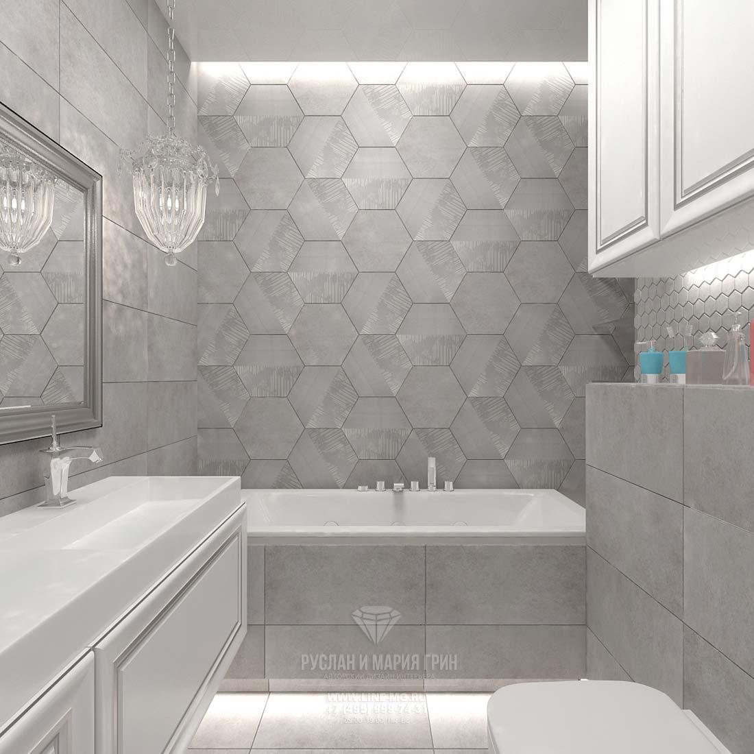 Дизайн интерьера ванной комнаты в сером цвете