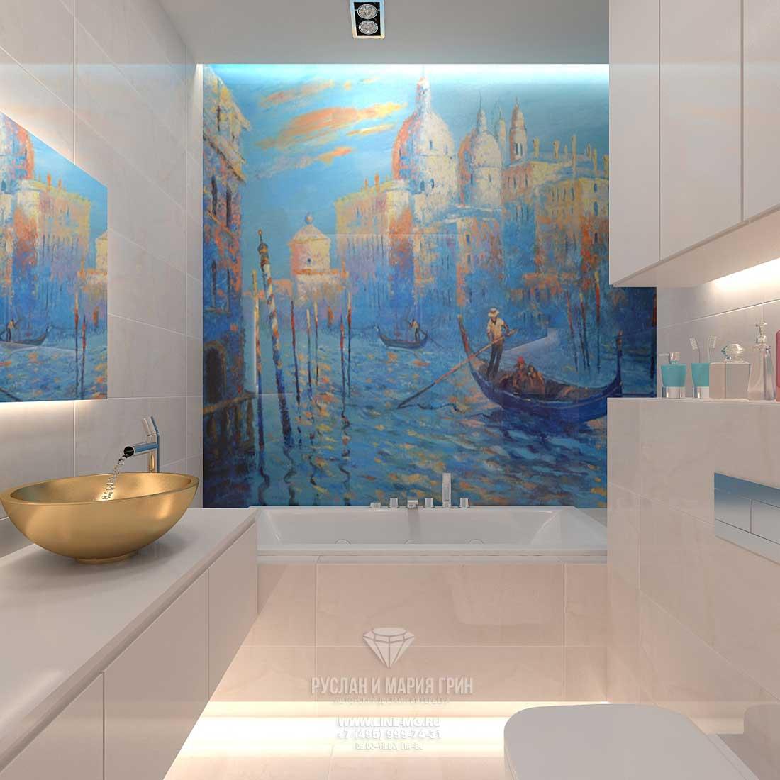 Красивое панно «Венеция» в ванной комнате