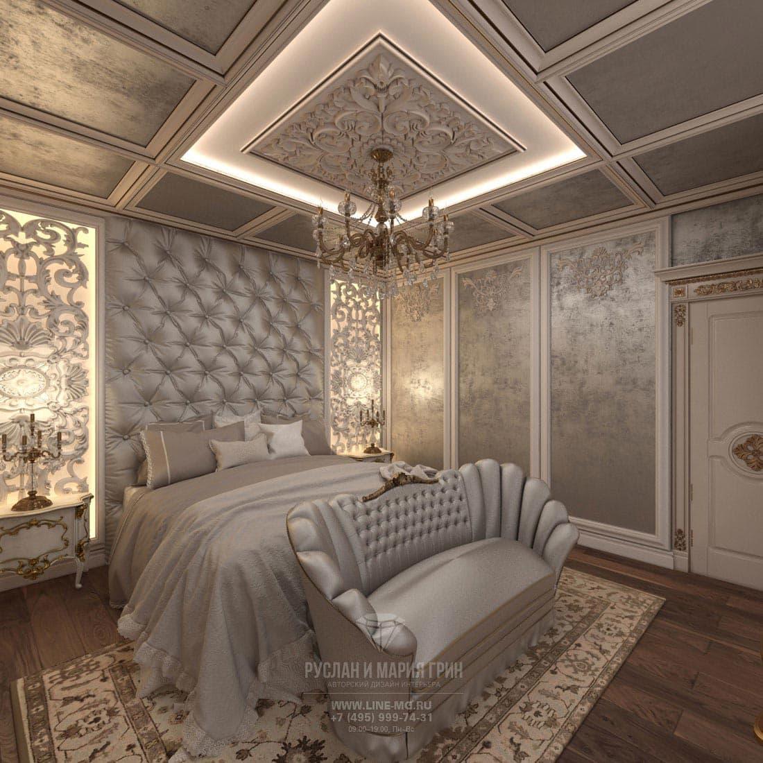 Интерьер спальни с отделкой декоративной штукатуркой