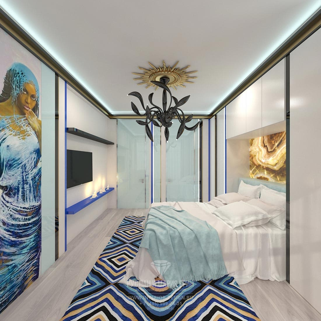 Интерьер спальни со встроенными системами хранения