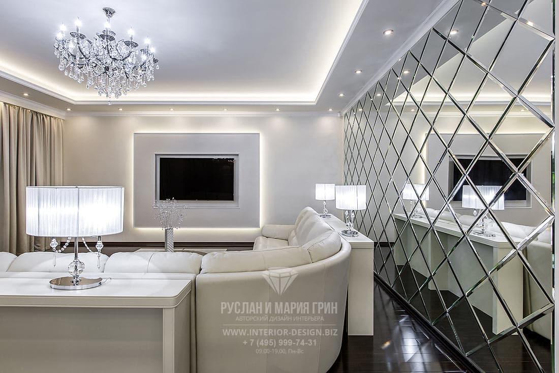 Интерьер гостиной со встроенной подсветкой