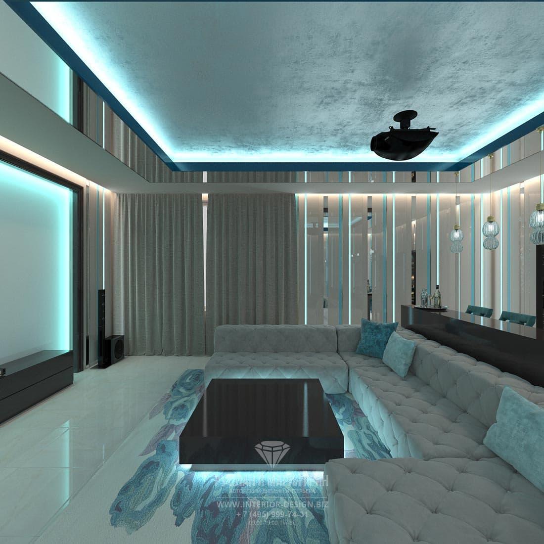 Интерьер домашнего кинотеатра в современном стиле