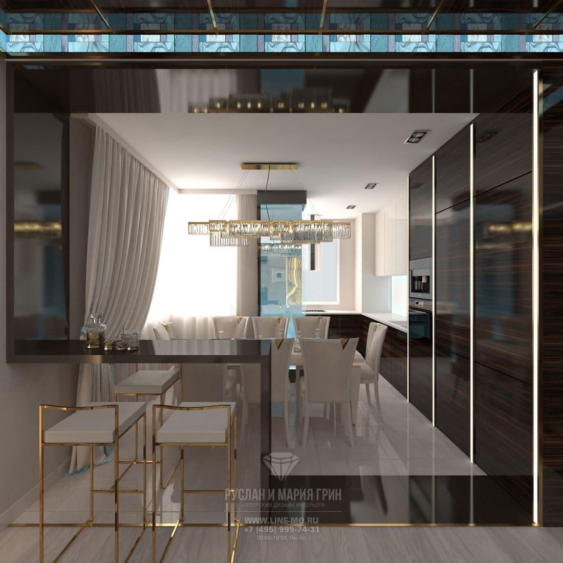Лаконичная современная кухня с золотистыми деталями