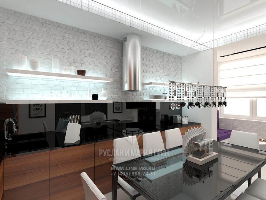 Современная кухня без навесных шкафов, отделанная белым кирпичом