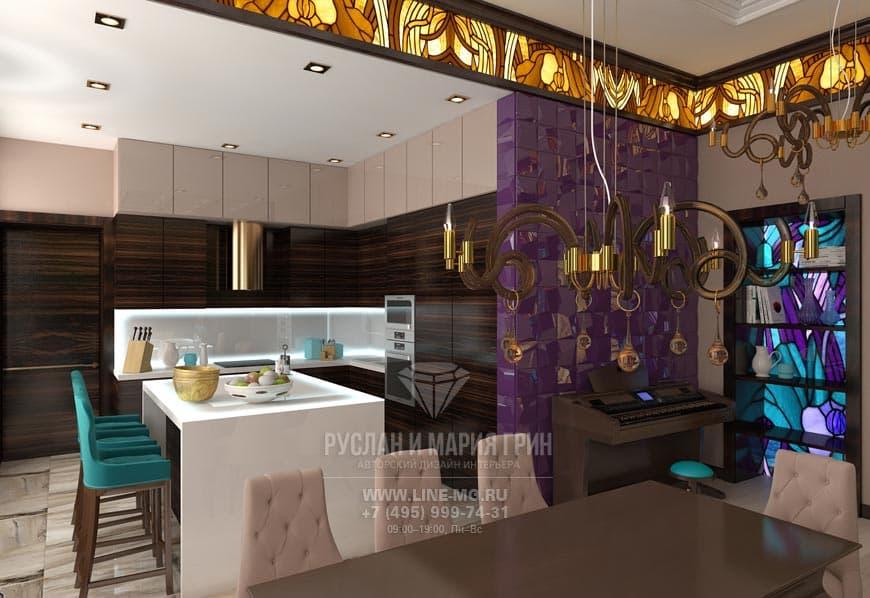 Современная кухня с яркими аметистовыми, бирюзовыми и янтарными акцентами