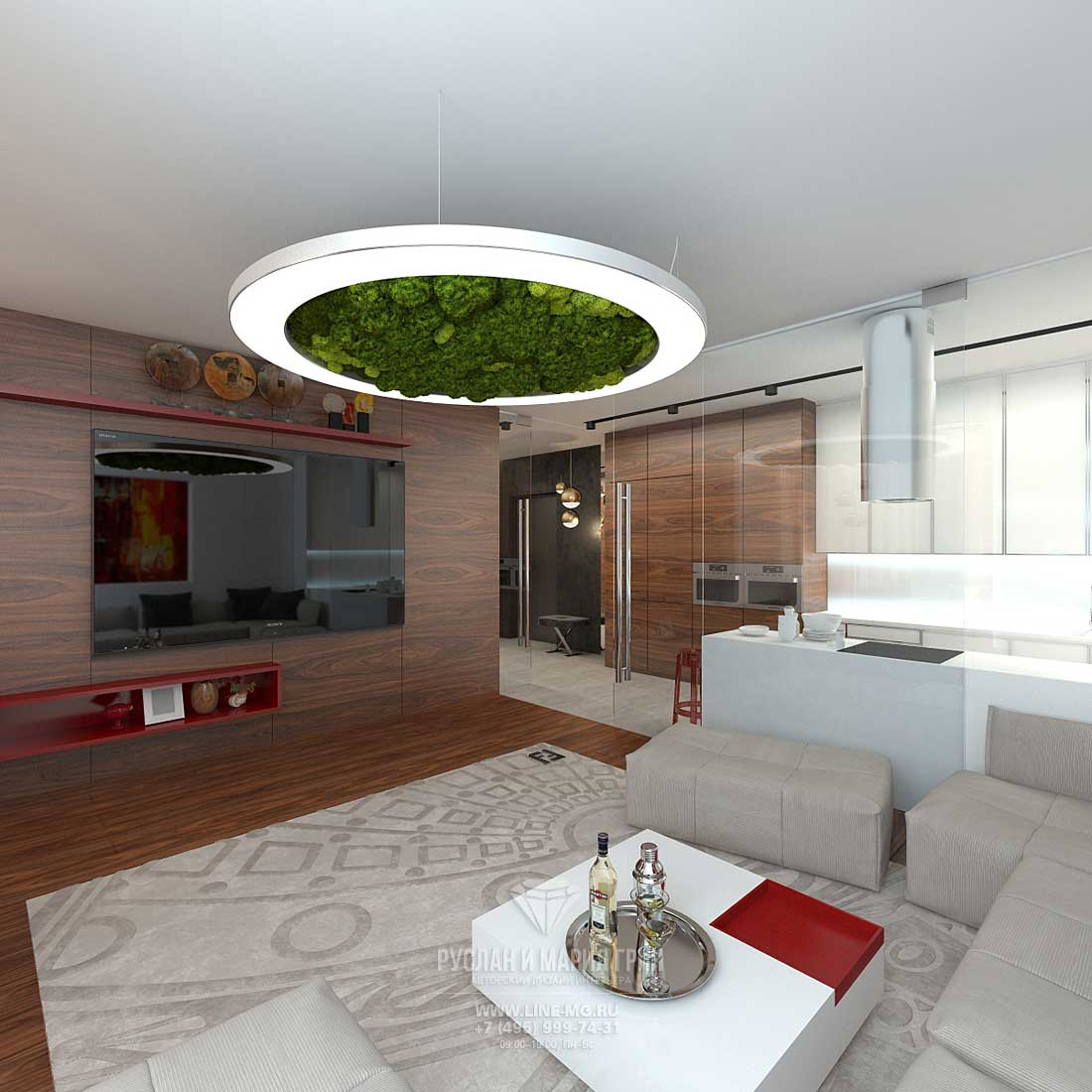 Дизайн современной кухни-гостиной