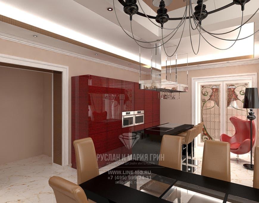 Оригинальная кухня в стиле арт-деко с красными глянцевыми фасадами и витражными дверями