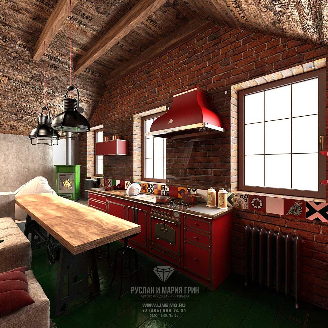 Современная кухня в стиле лофт с красным кирпичом