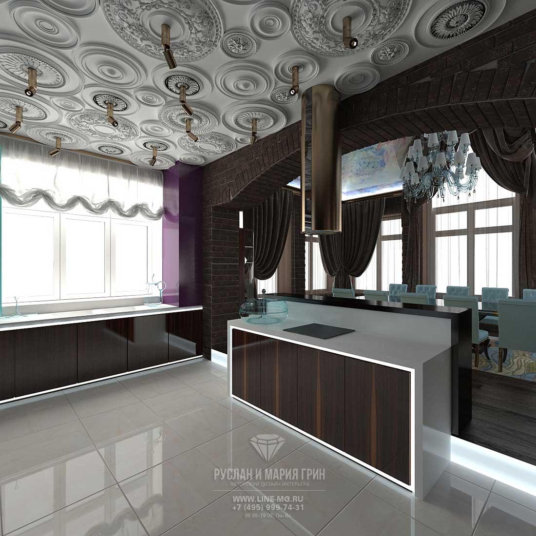 Кухня в стиле арт-деко с декоративными лепными розетками