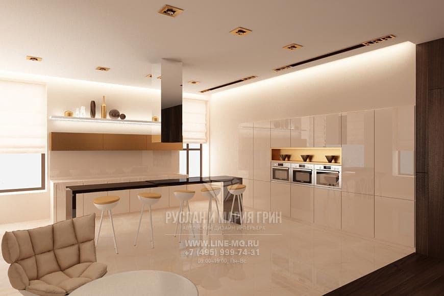Кухня в светлых тонах со встроенным в нишу модулем
