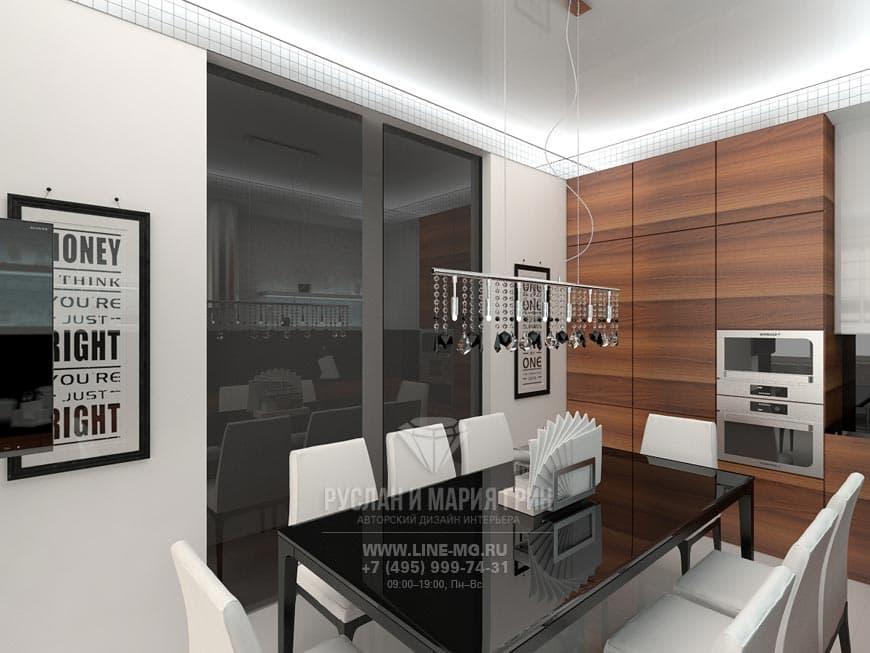Дизайн кухни в стиле хай-тек с тонированным стеклом и натуральным деревом