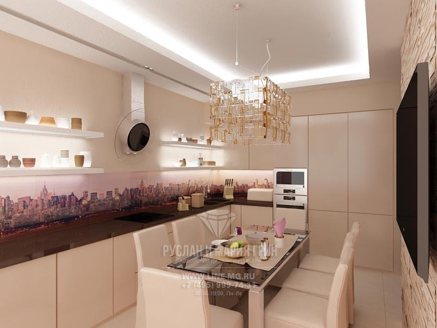 Кухня в светлых тонах с фартуком, украшенным фотопечатью