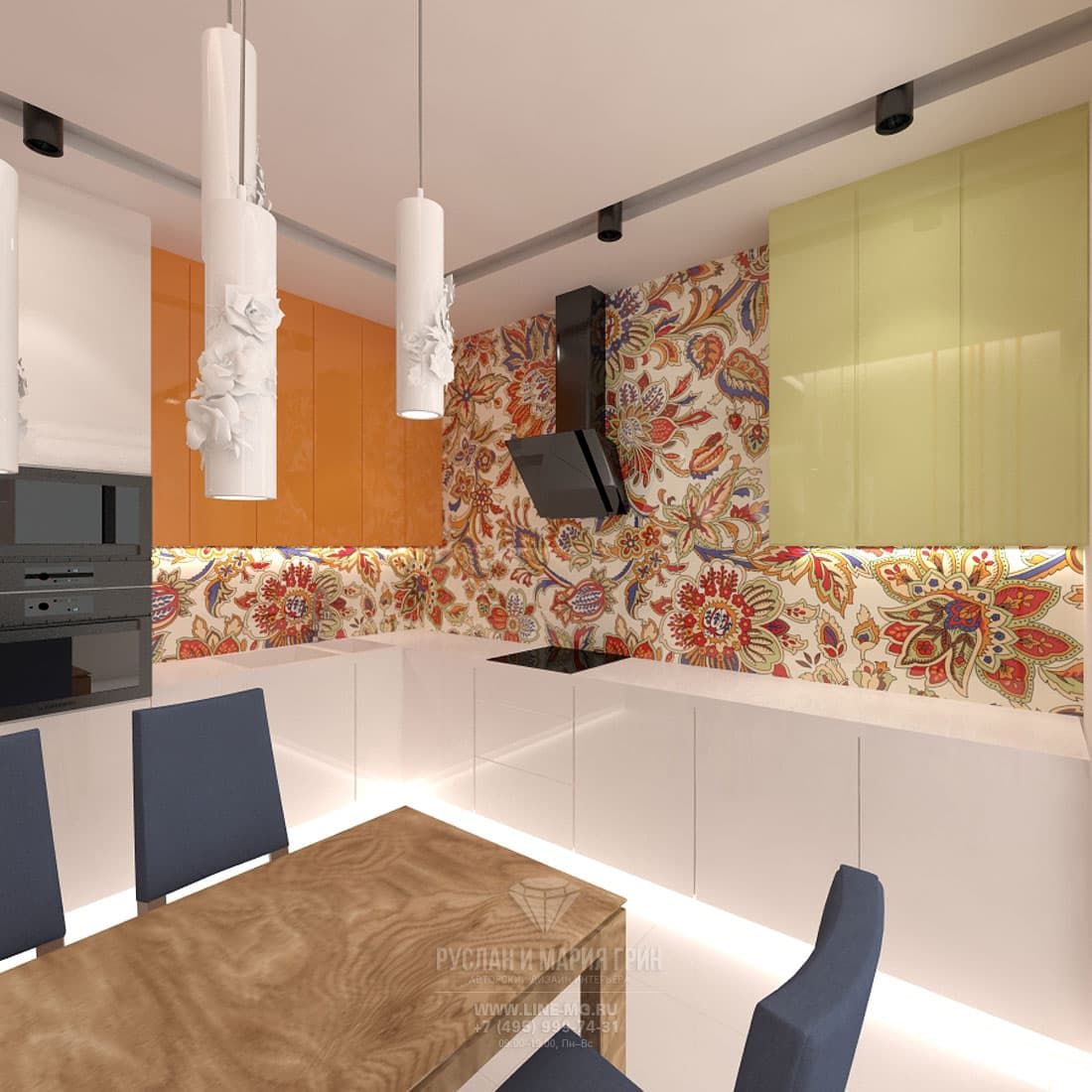Интерьер светлой современной кухни с яркой плиткой