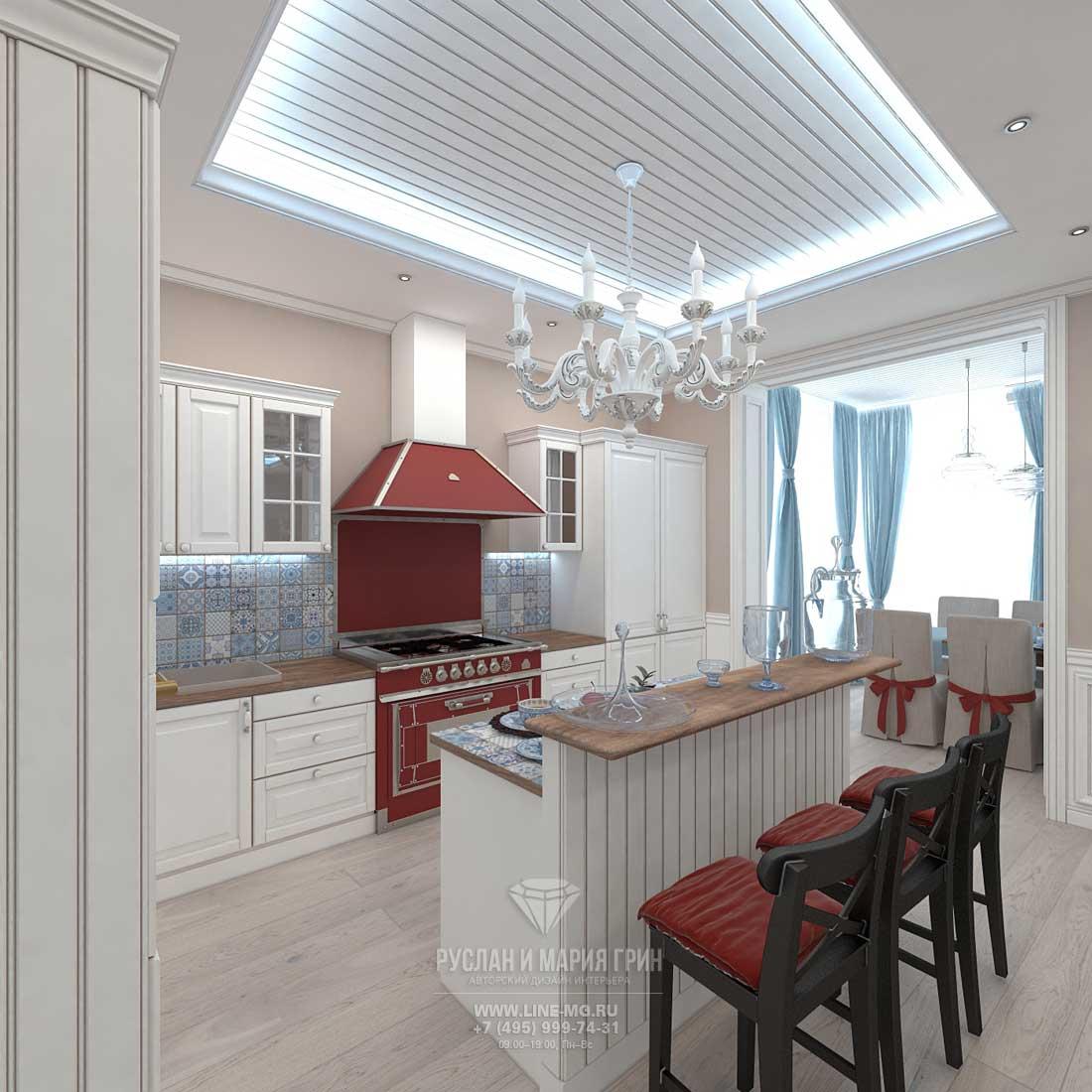 Интерьер кухни с нарядной плиткой в скандинавском стиле