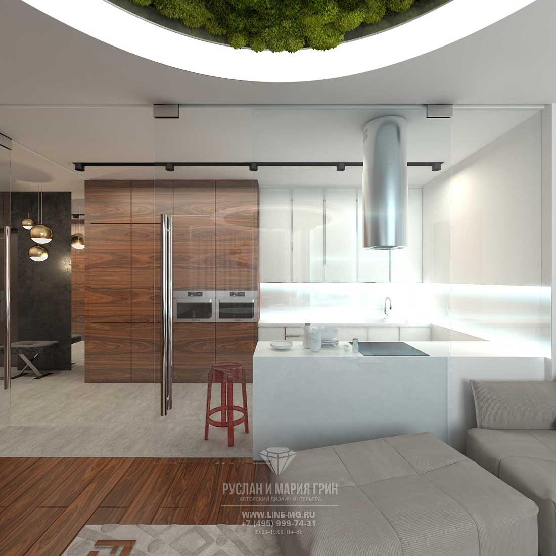 Кухня в стиле минимализм с прозрачной перегородкой из закаленного стекла