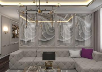 Интерьер гостиной комнаты в трешке