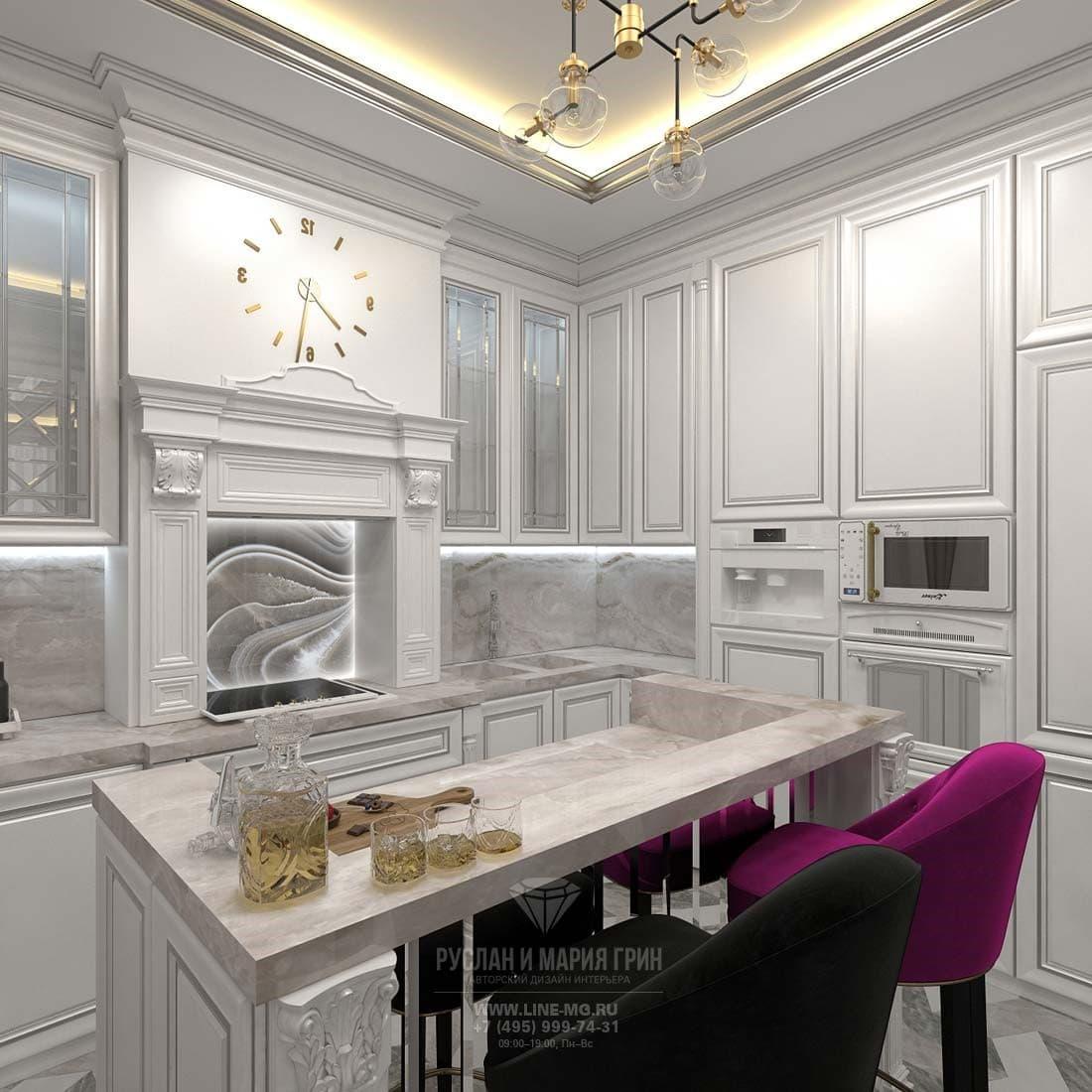 Дизайн интерьера кухни в трехкомнатной квартире