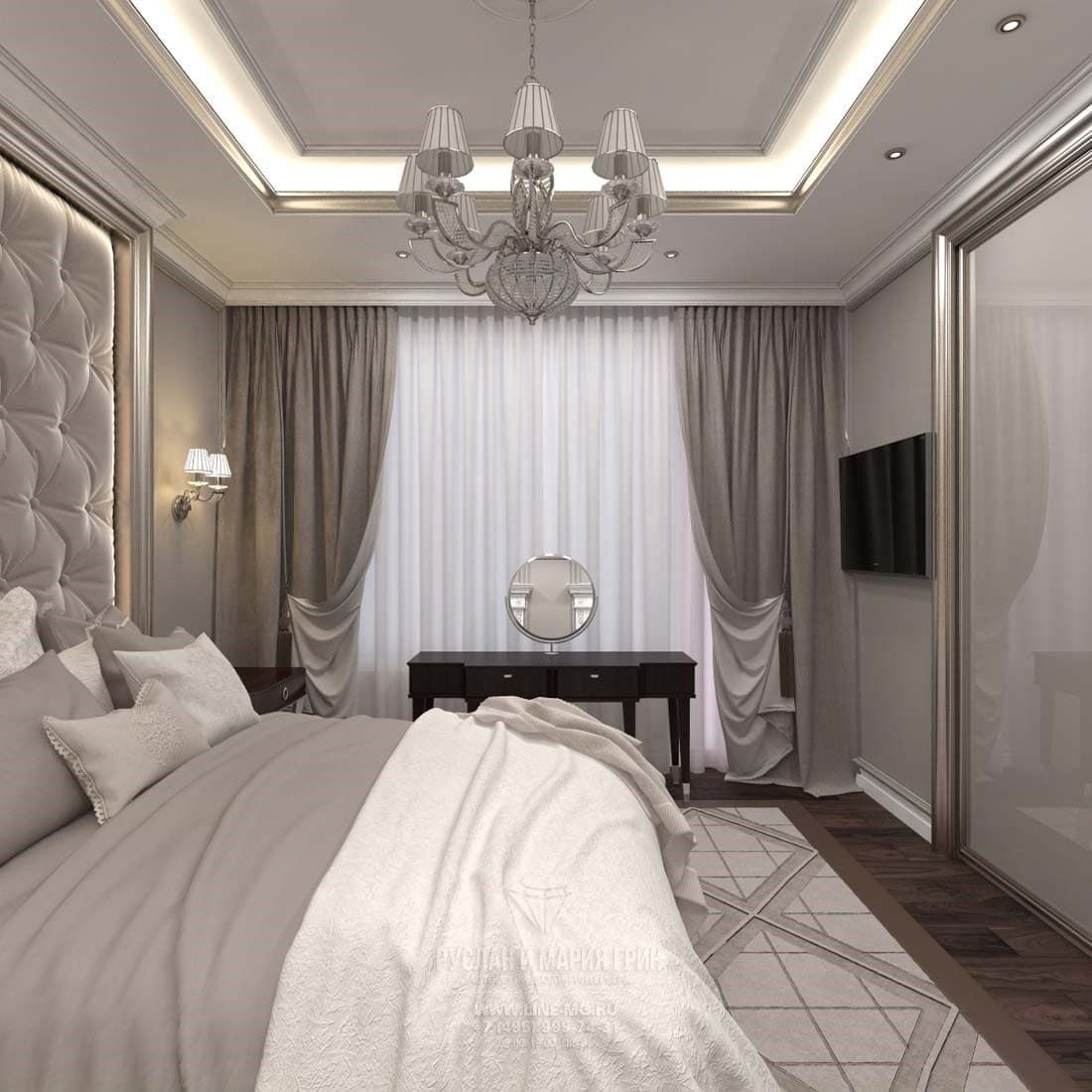 Современная спальня в трехкомнатной квартире 85 кв. метров