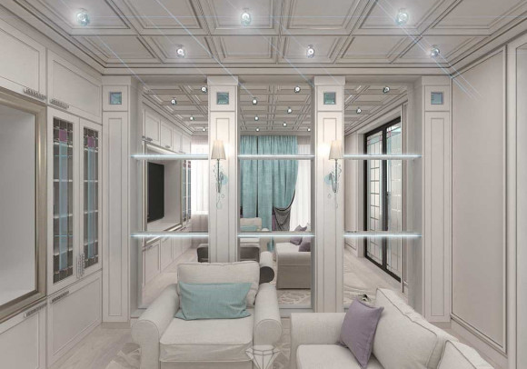 Интерьер гостиной комнаты в белых тонах
