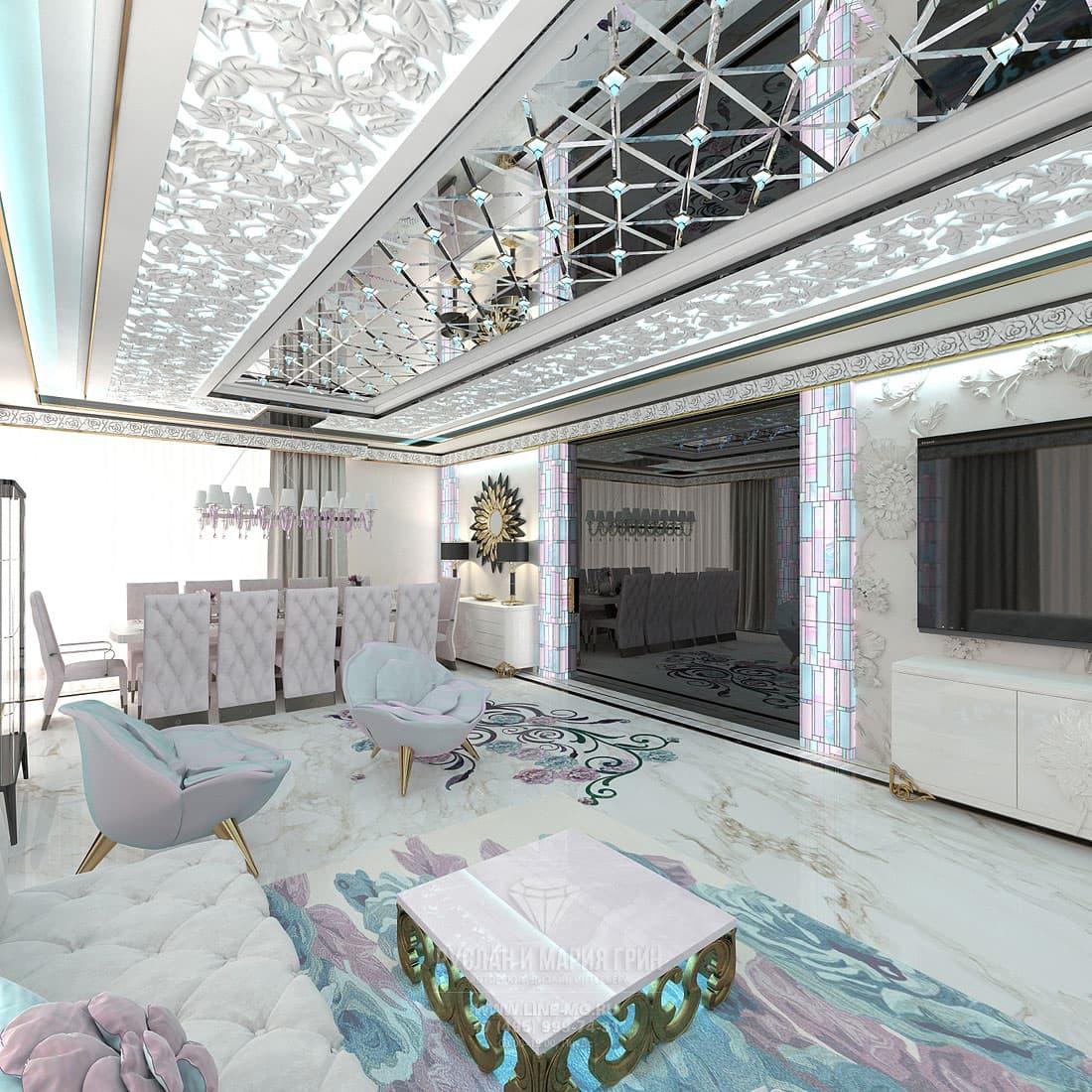 Белый мрамор в дизайне и отделке пола в гостиной комнате