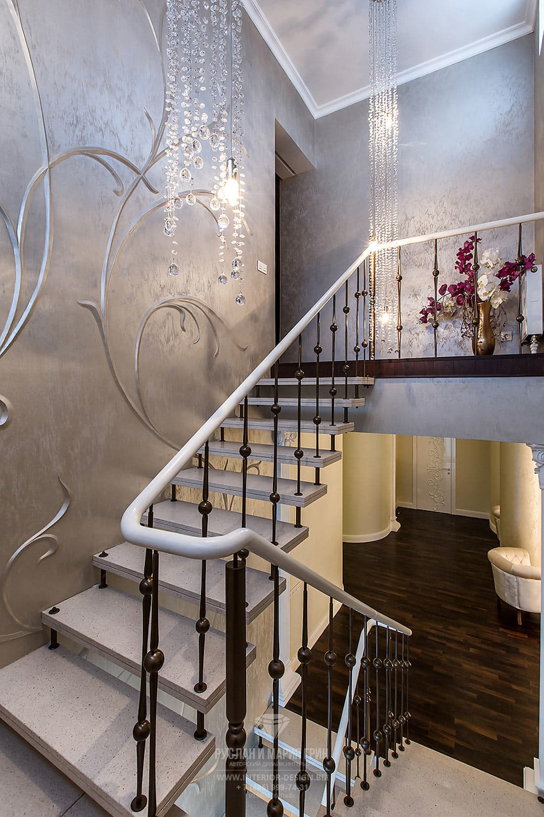 Дизайн лестницы и коридора в частном доме. Фото 2018