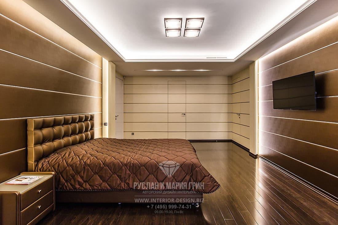Интерьер спальни в оттенке какао