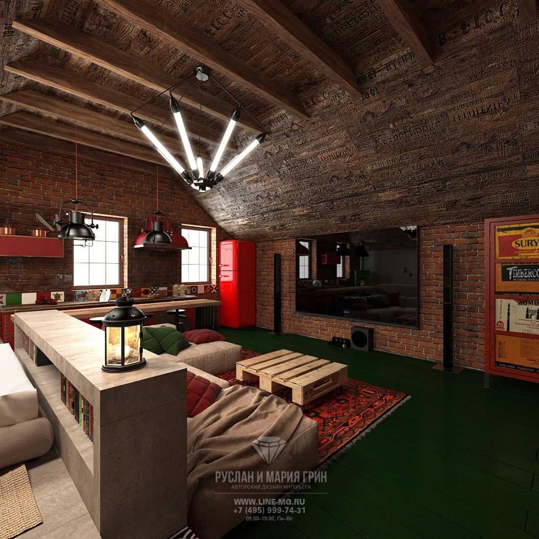 Гостиная на мансарде в стиле лофт