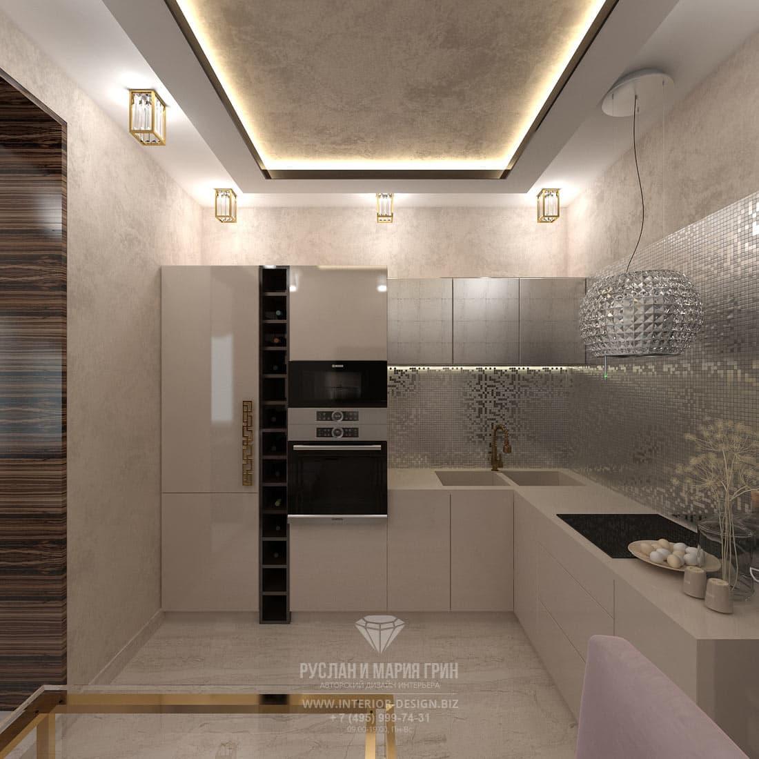 Интерьер современной кухни в стиле ар-деко