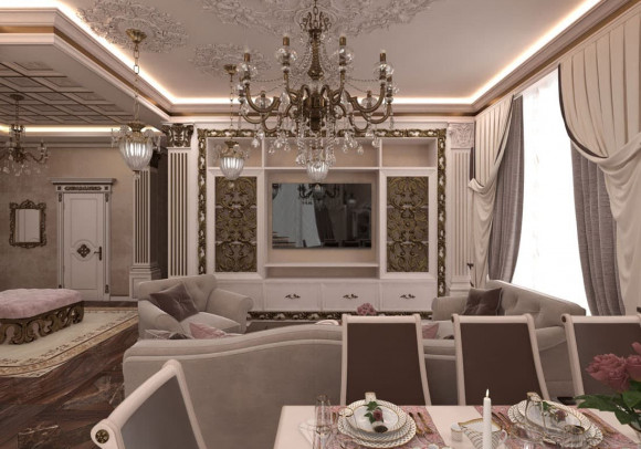 Дизайн гостиной с лепниной на потолке