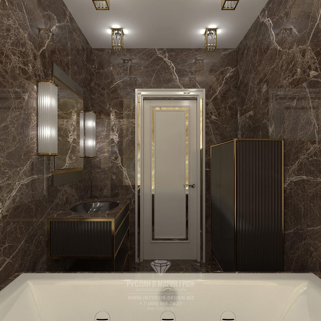 Интерьер ванной комнаты в популярном стиле ар-деко