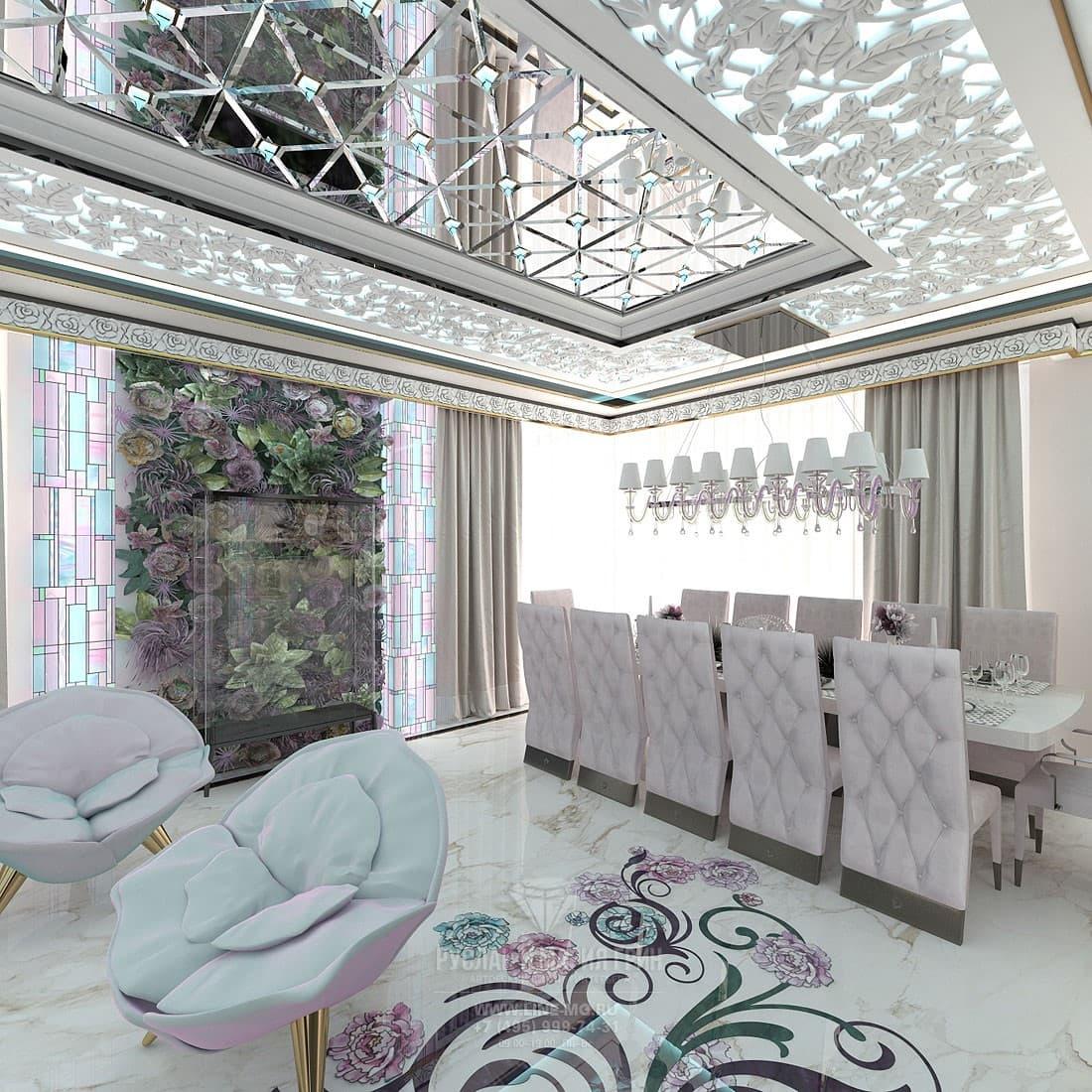 Красивый дизайн интерьера столовой в частном доме