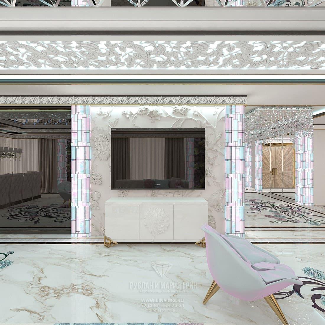 Дизайн гостиной со столовой в частном доме