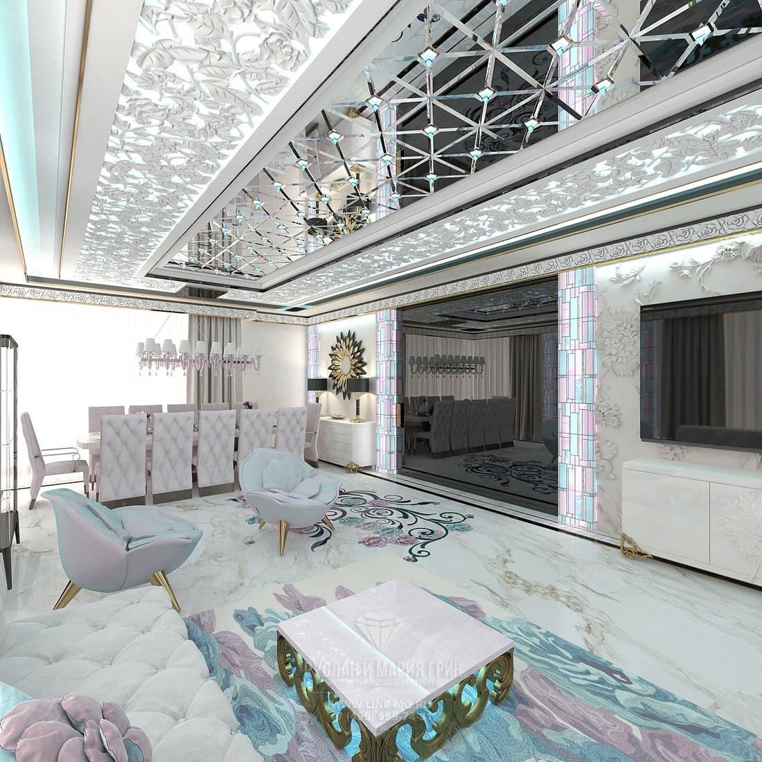 Интерьер гостиной со столовой в частном доме