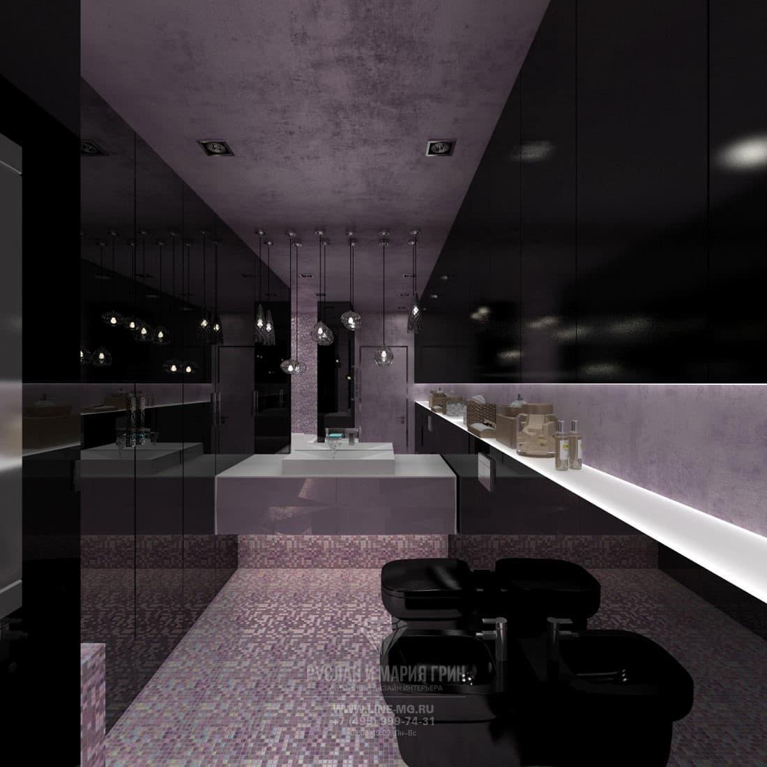 Интерьер ванной комнаты в стиле ар-деко