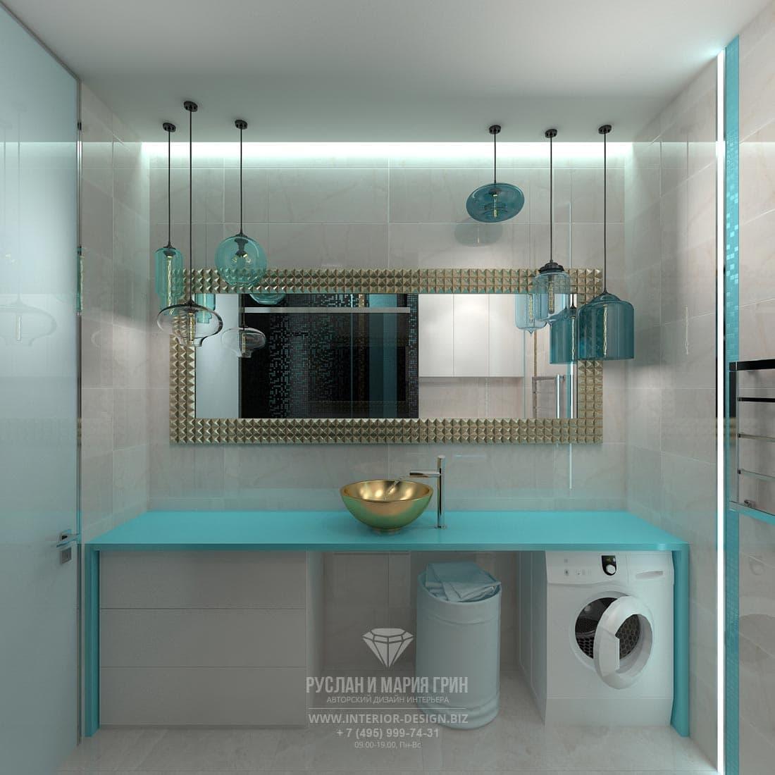Аквамариновая ванная комната с отделкой серой плиткой