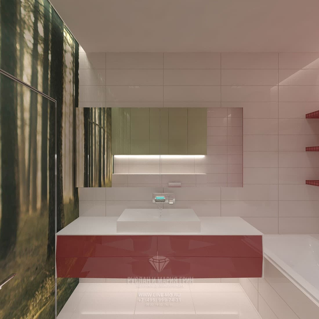 Интерьер ванной комнаты с яркими акцентами