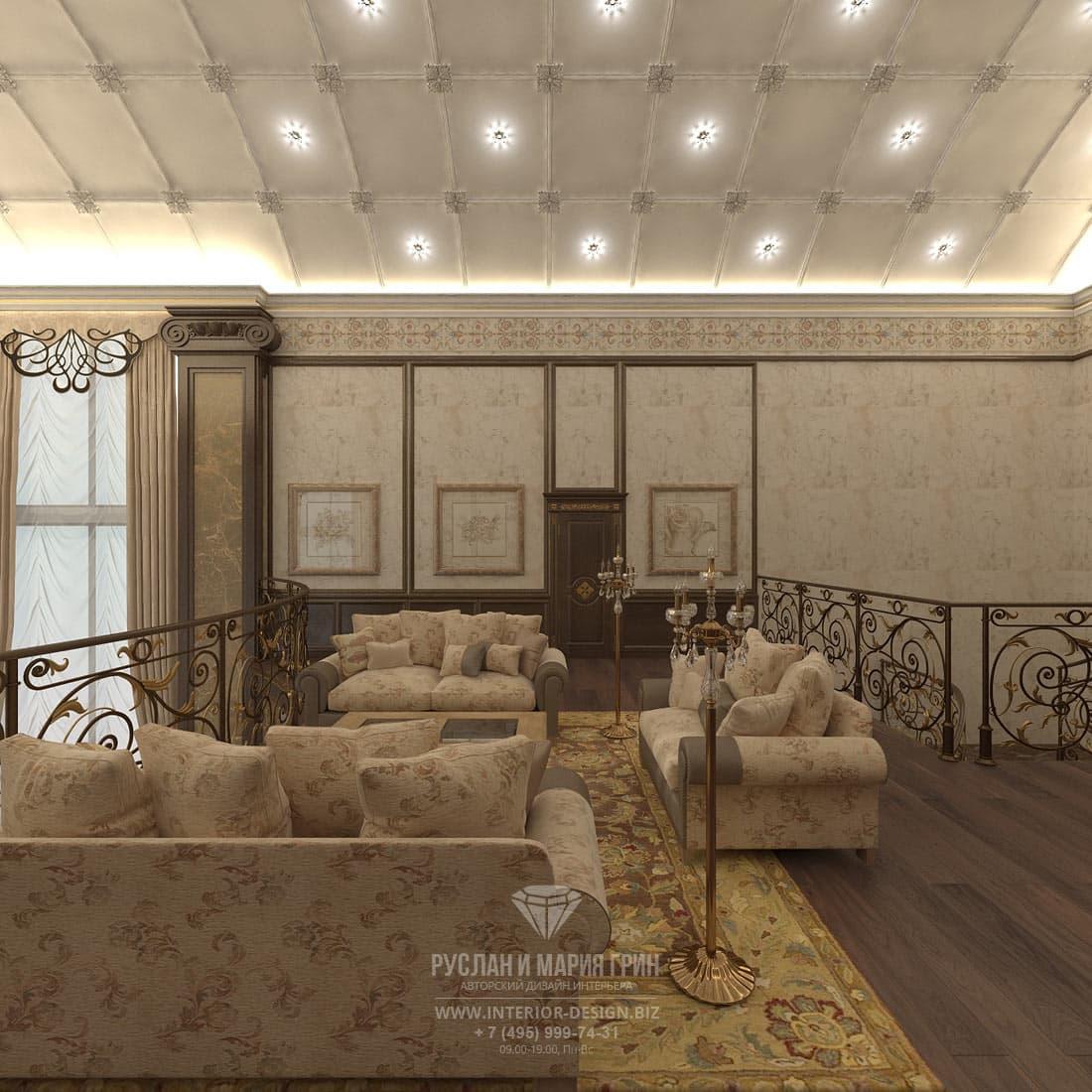Интерьер гостиной в холле второго этажа