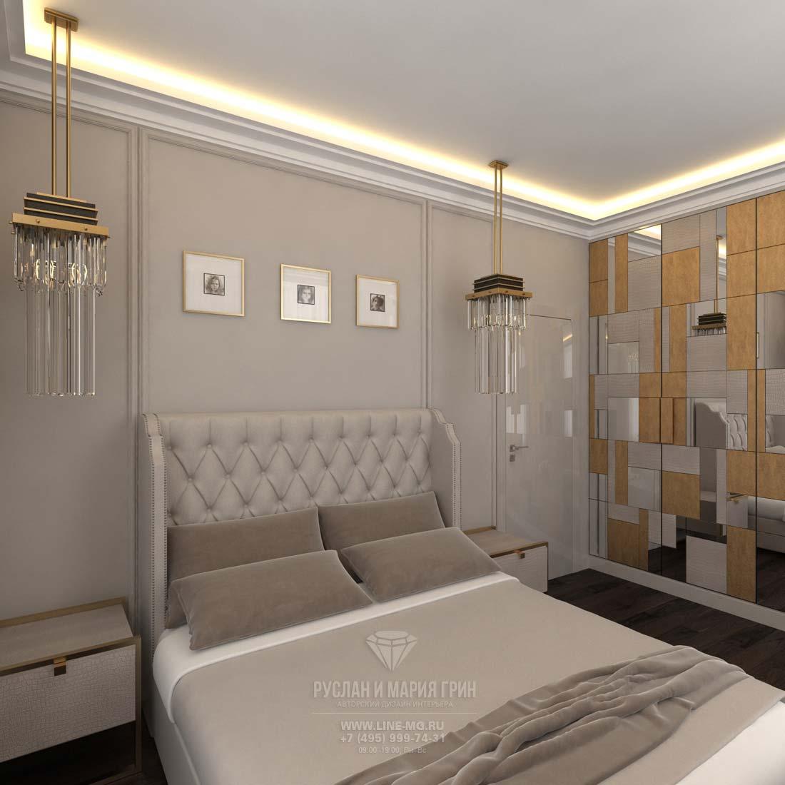 Интерьер спальни в современном коттедже