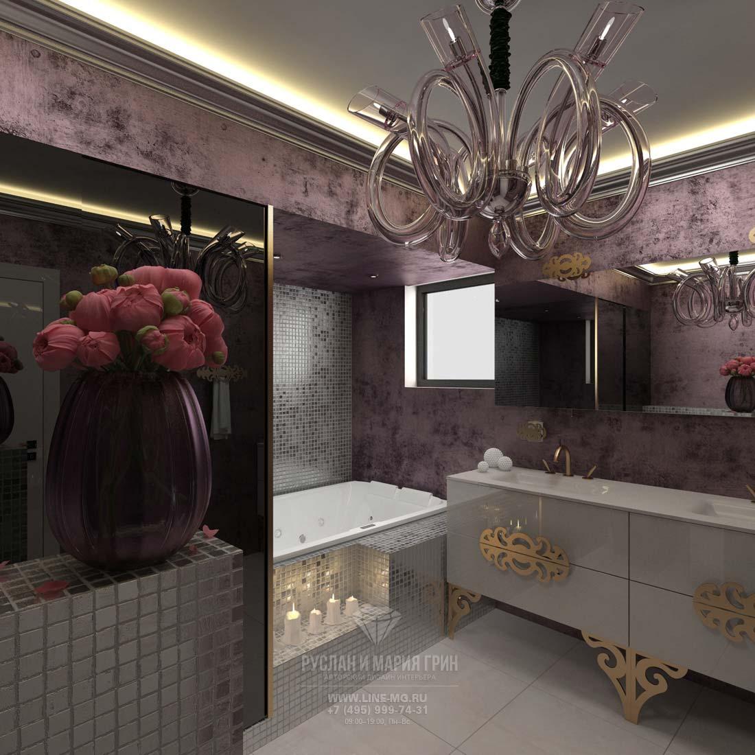 Интерьер ванной в коттедже в современном стиле