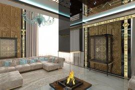 Дизайн прихожей и гостиной в частном доме в стиле ар-деко