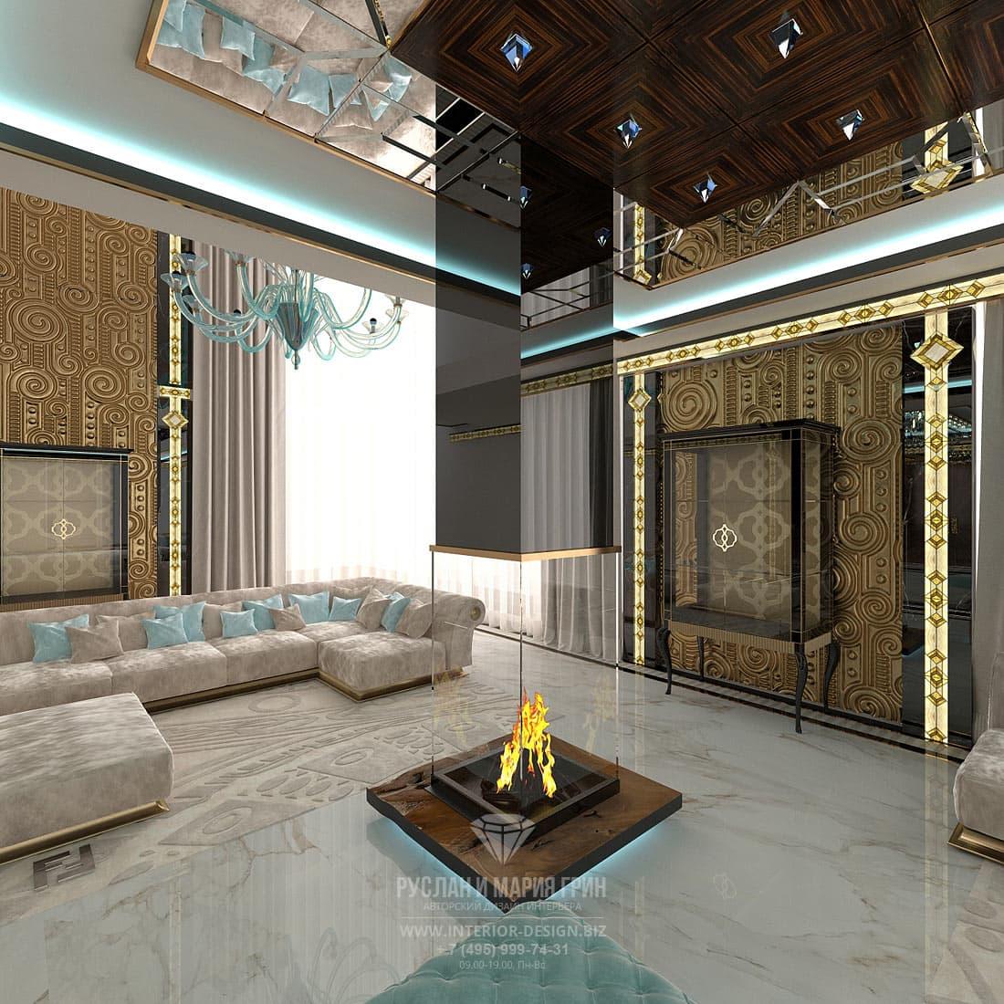 Дизайн гостиной в частном доме в стиле ар-деко