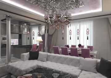 Гостиная квартиры в классическом стиле