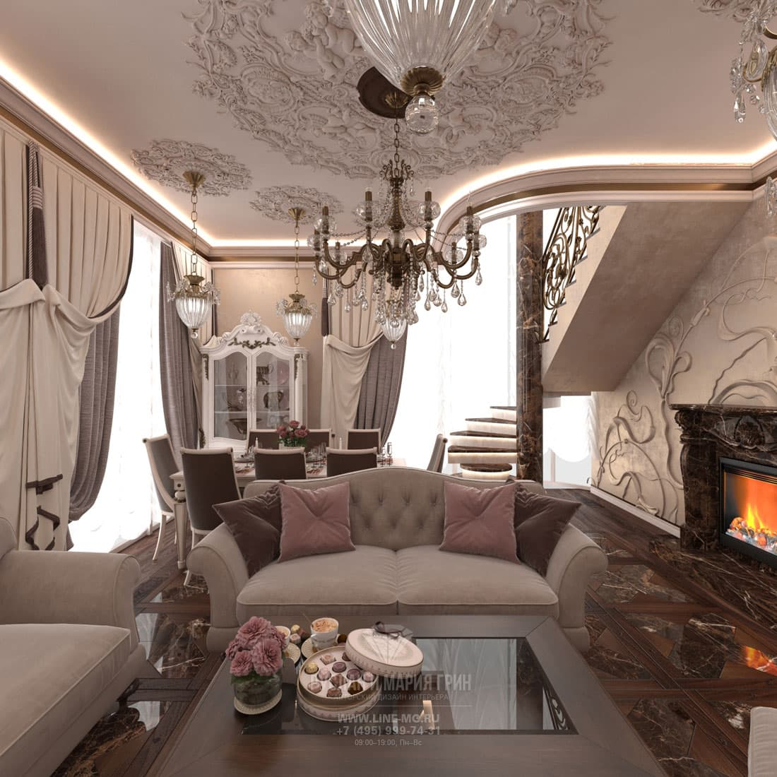 Дизайн интерьера гостиной загородного коттеджа в классическом стиле