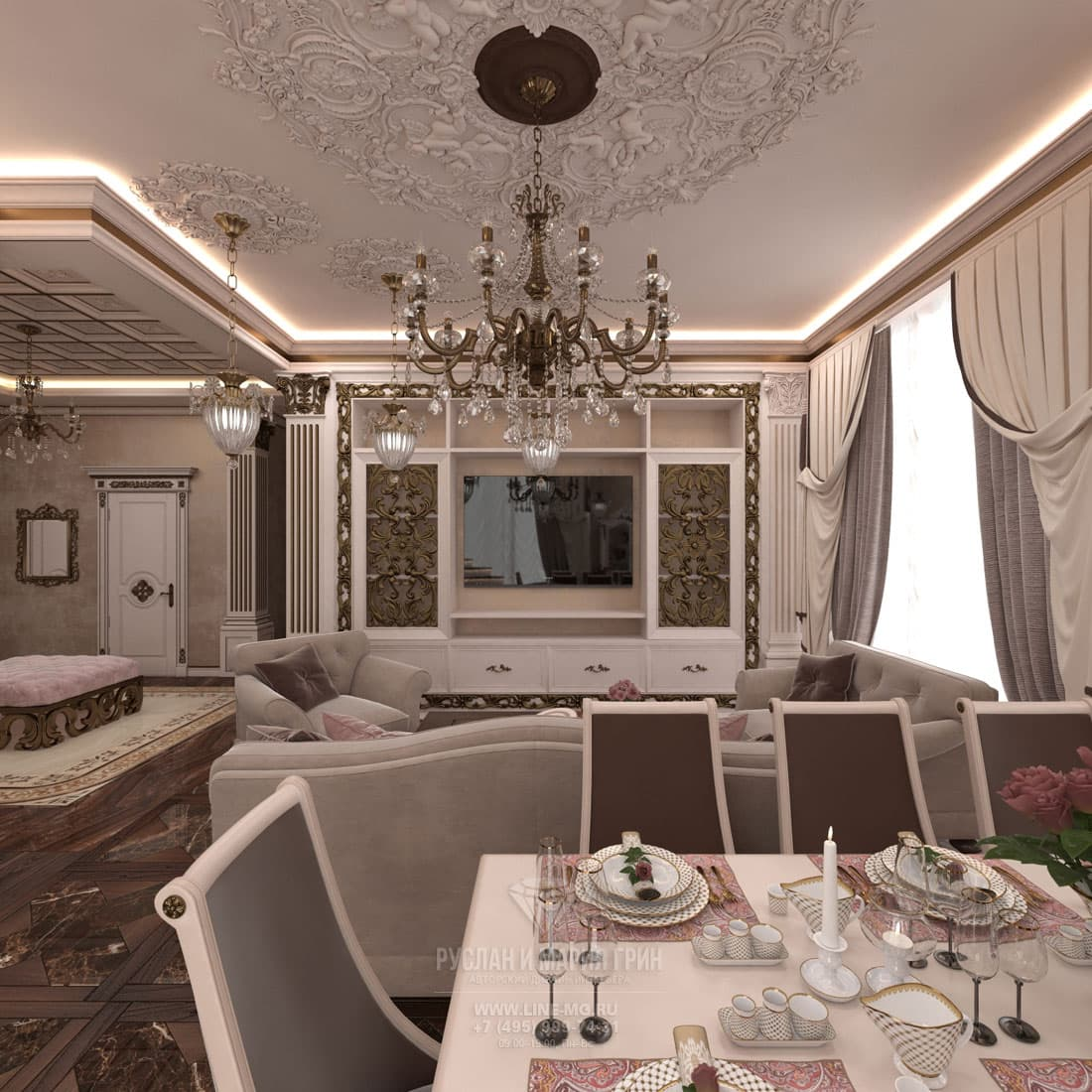 Интерьер красивой гостиной комнаты