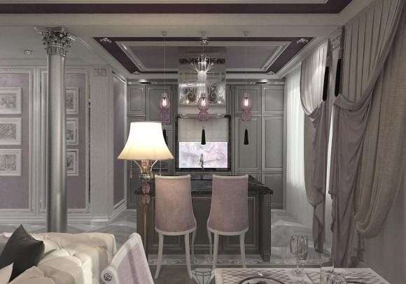 Дизайн интерьера красивой кухни в нише