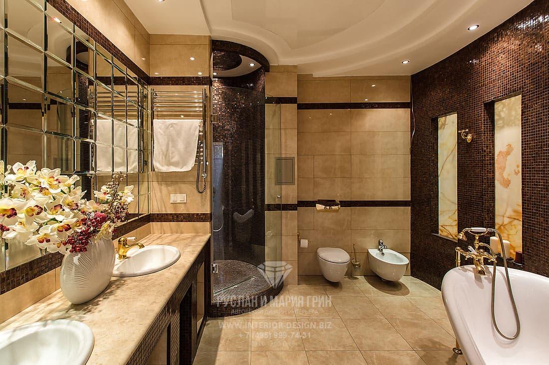 Реализованный дизайн-проект коттеджа. Интерьер ванной комнаты