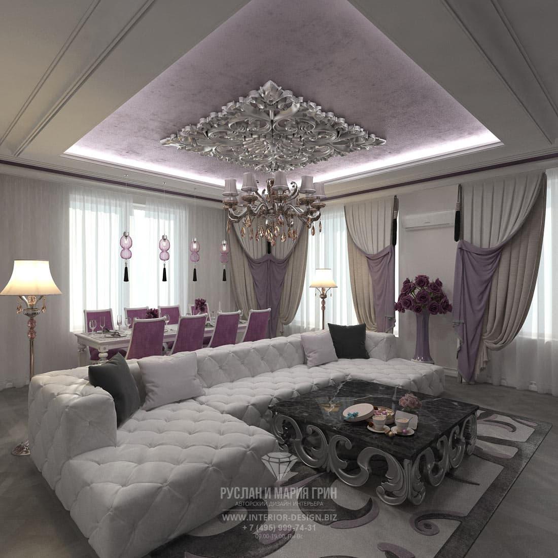 Дизайн-проект коттеджа. Интерьер гостиной комнаты со столовой зоной