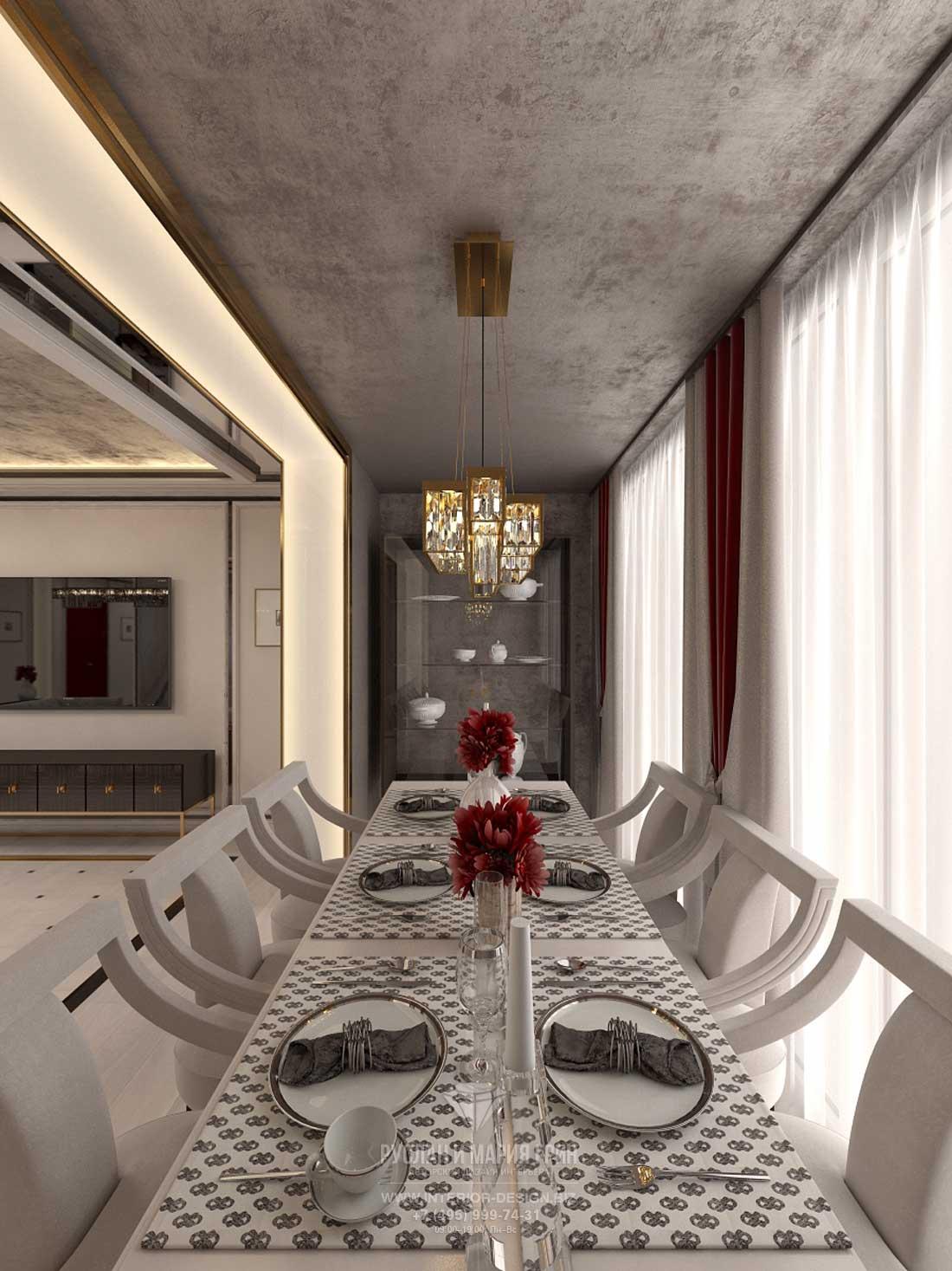 Дизайн столовой в стиле арт-деко. Бежевый интерьер