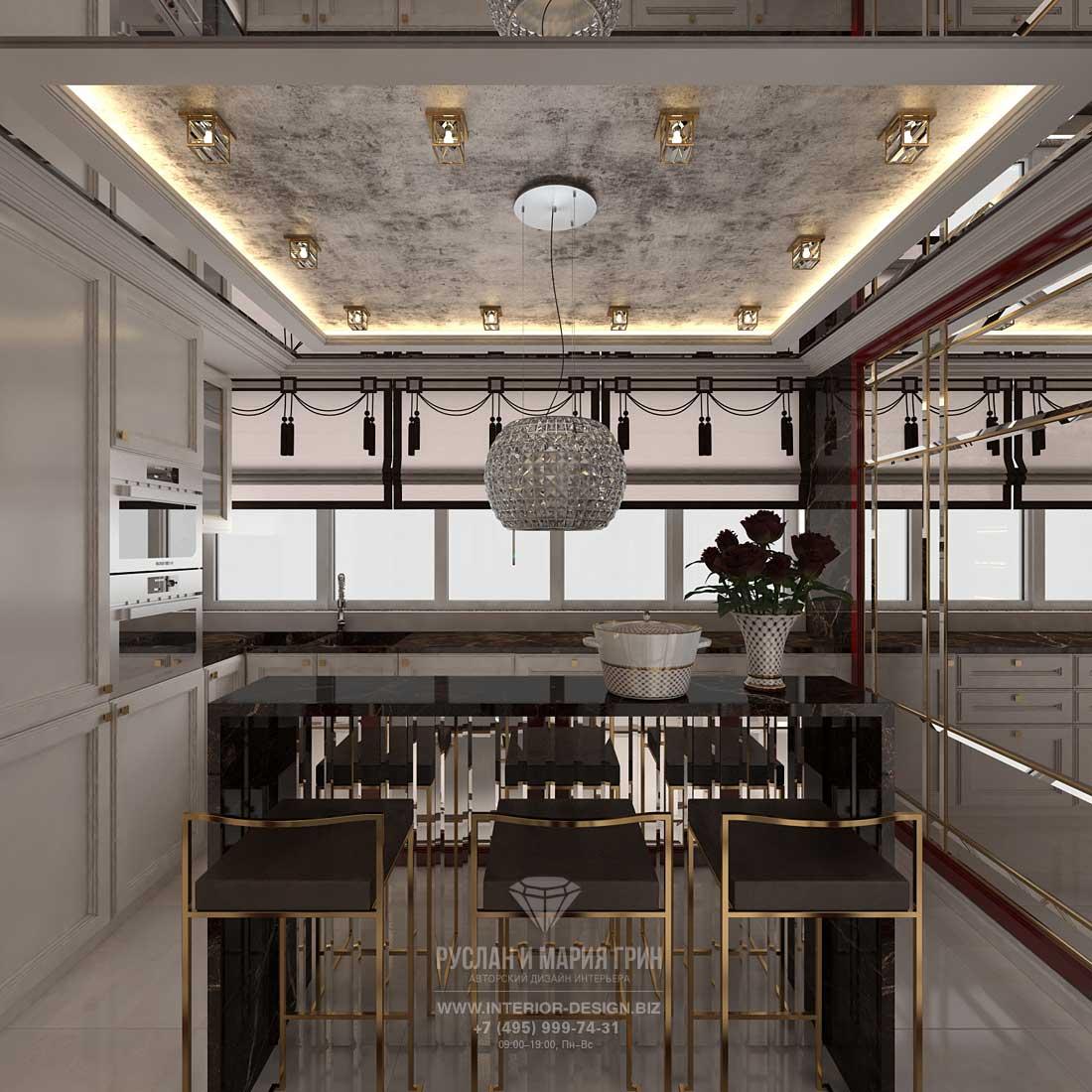 Дизайн кухни с барной стойкой в стиле арт-деко