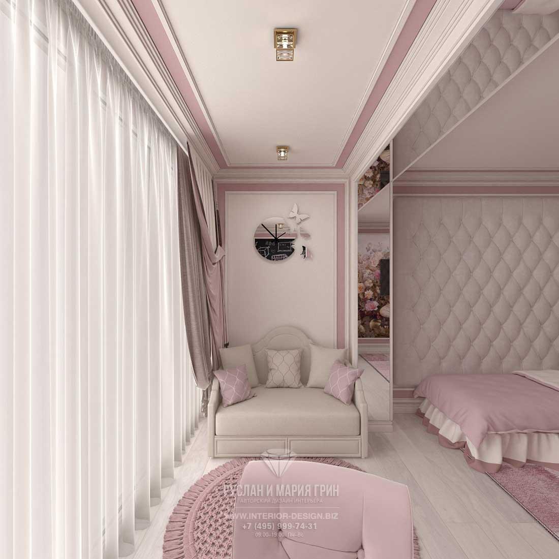 Дизайн розовой детской комнатя для девочки
